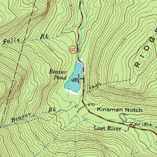 Topographic Map of Beaver Pond, NH