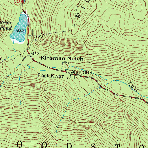 Topographic Map of Lost River, NH