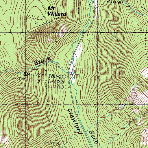 Topographic Map of Willey Brook, NH