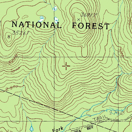 Topographic Map of Lincoln Woods Scenic Area, NH
