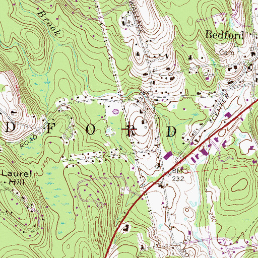 Topographic Map of Town of Bedford, NH