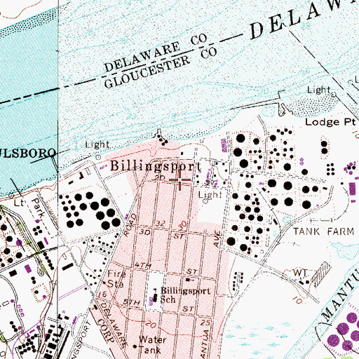 Topographic Map of Billingsport, NJ
