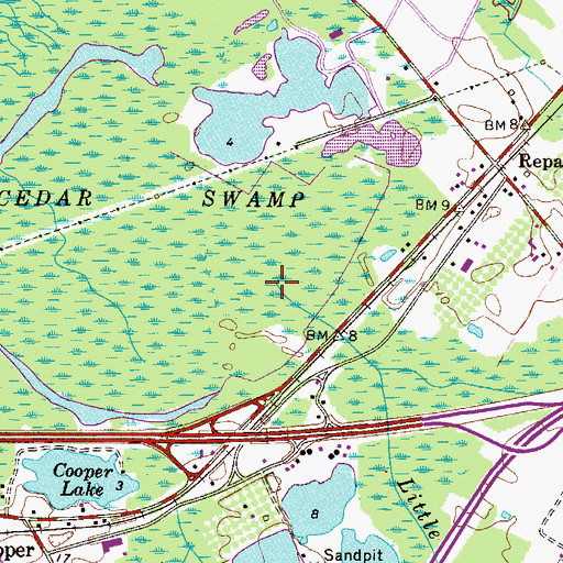 Topographic Map of Little Timber Creek, NJ