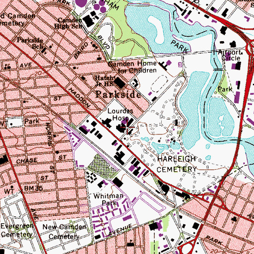 Topographic Map of Loudes Hospital, NJ