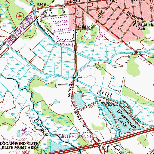 Topographic Map of Nehonsey Brook, NJ