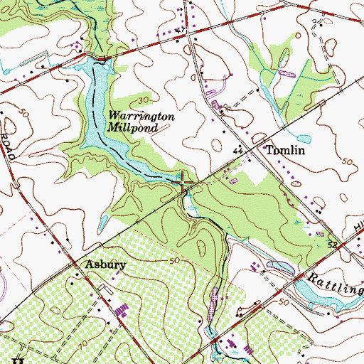 Topographic Map of Rattling Run, NJ