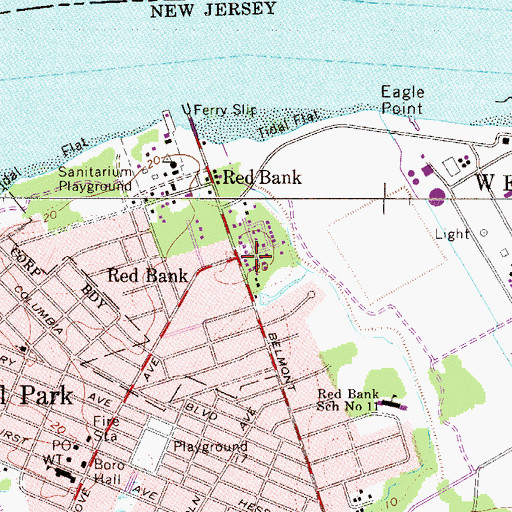 Topographic Map of Red Bank, NJ