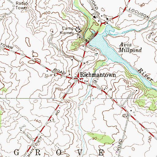 Topographic Map of Richmantown, NJ