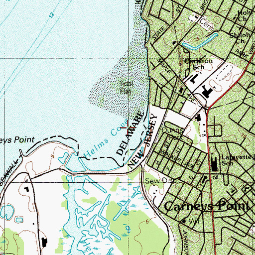 Topographic Map of Helms Cove, NJ
