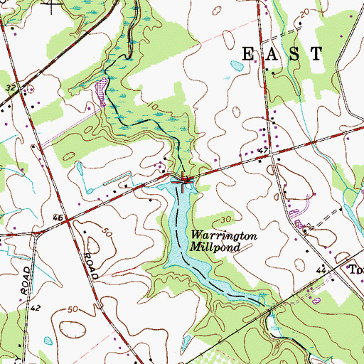 Topographic Map of Warrington Mill Dam, NJ
