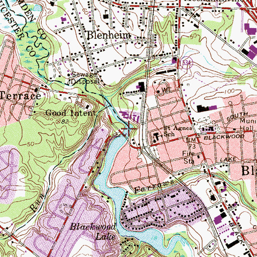 Topographic Map of Blackwood Lake Dam, NJ