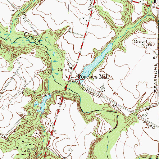 Topographic Map of Porches Mill Dam, NJ