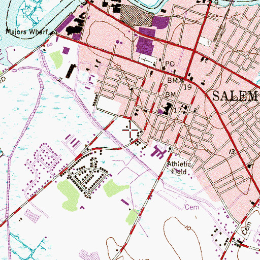Topographic Map of City of Salem, NJ