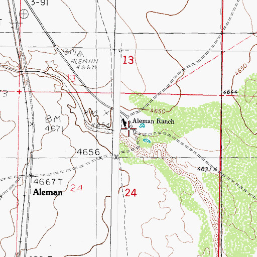 Topographic Map of Aleman Ranch Headquarters, NM