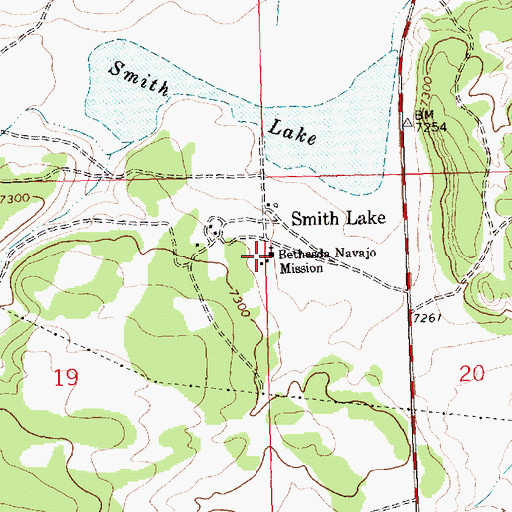 Topographic Map of Bethesda Navajo Mission, NM