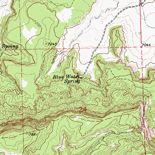 Topographic Map of Blue Water Spring, NM