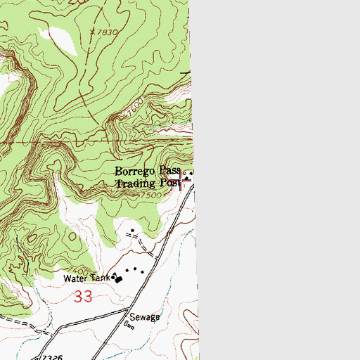 Topographic Map of Borrego Pass Trading Post, NM