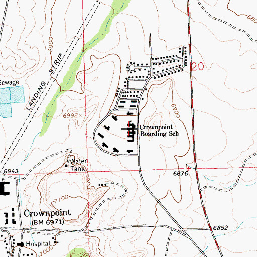 Topographic Map of Crownpoint Boarding School, NM