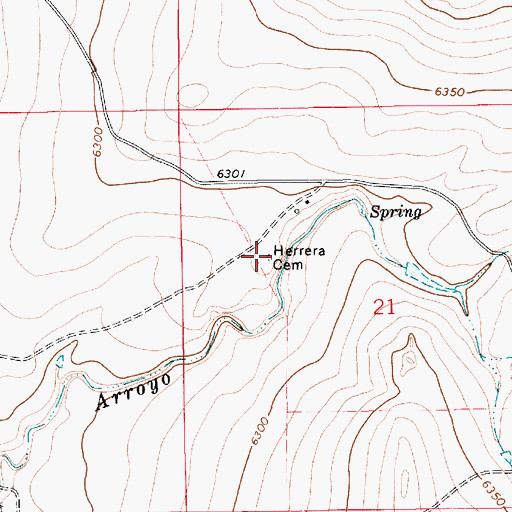 Topographic Map of Herrera Cemetery, NM