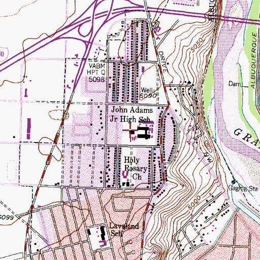 Topographic Map of John Adams Middle School, NM