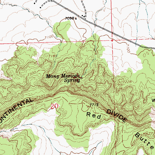 Topographic Map of Many Mexican Spring, NM
