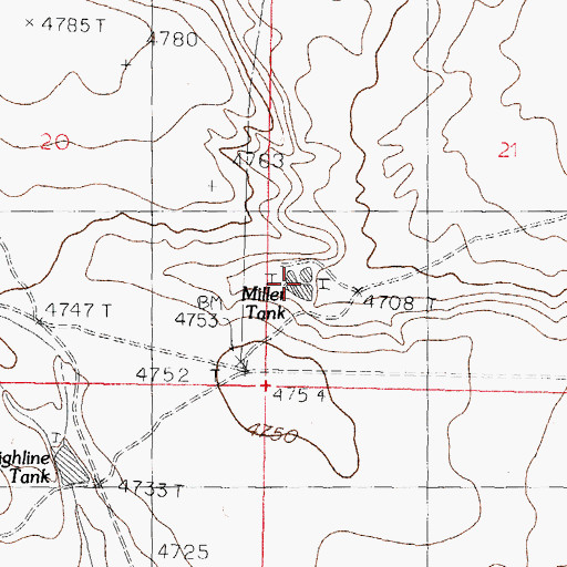 Topographic Map of Miller Tank, NM