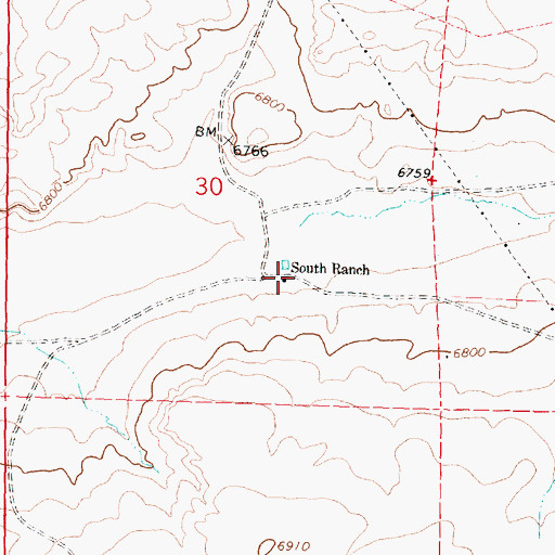 Topographic Map of South Ranch, NM