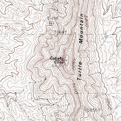 Topographic Map of Turtle Mountain, NM