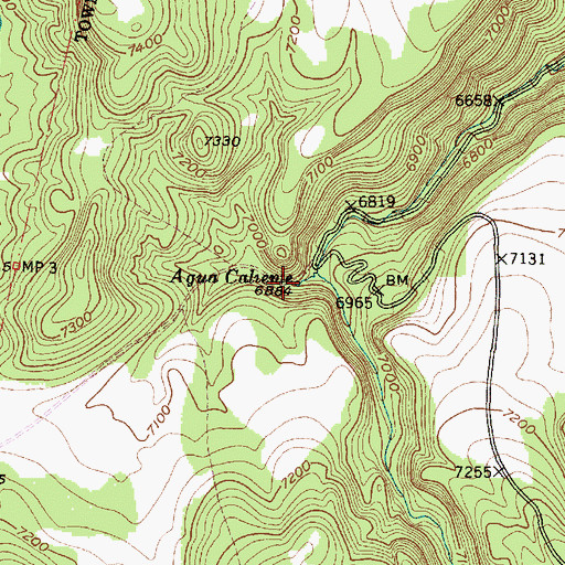 Topographic Map of Agua Caliente, NM