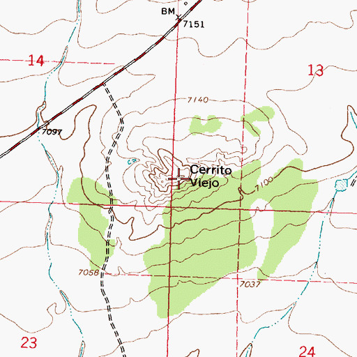 Topographic Map of Cerrito Viejo, NM