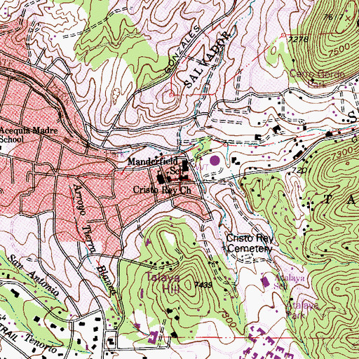 Topographic Map of Cristo Rey Church, NM
