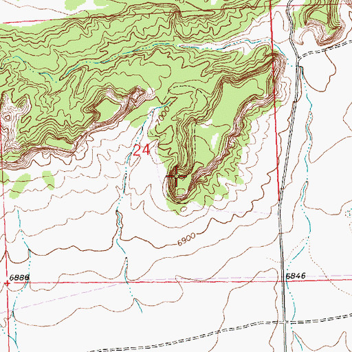 Topographic Map of Tom Elkins Mine, NM