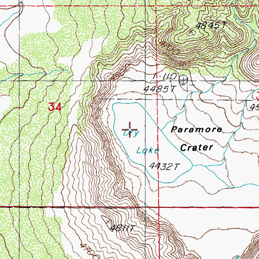 Topographic Map of Paramore Crater, AZ