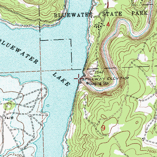 Topographic Map of Bluewater Dam, NM