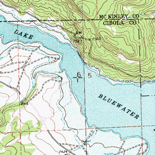 Topographic Map of Bluewater Lake, NM