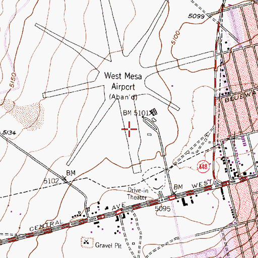 Topographic Map of Albuquerque Cutter Carr Airfield Windsock, NM