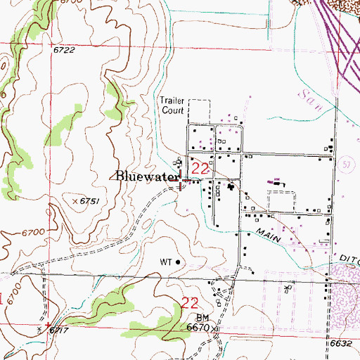 Topographic Map of Tchalchuitl Mines Historic Site, NM