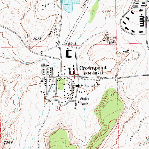 Topographic Map of Crownpoint Post Office, NM
