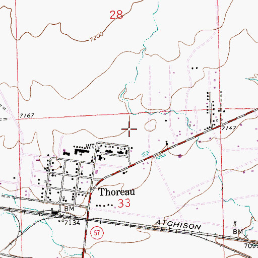 Topographic Map of Thoreau Post Office, NM