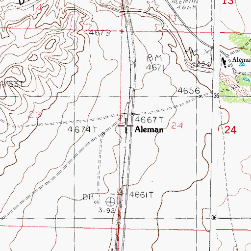 Topographic Map of Aleman Post Office (historical), NM