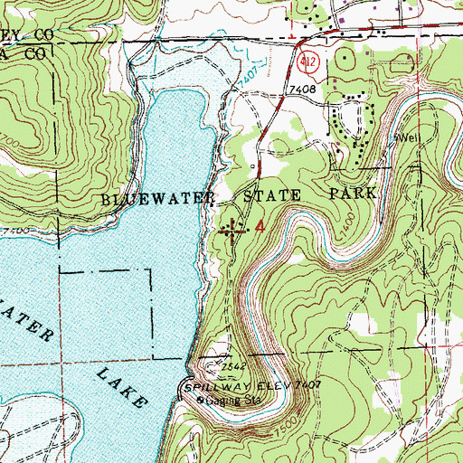 Topographic Map of Bluewater Campground, NM