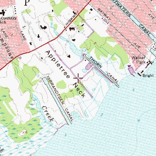 Topographic Map of Appletree Neck, NY