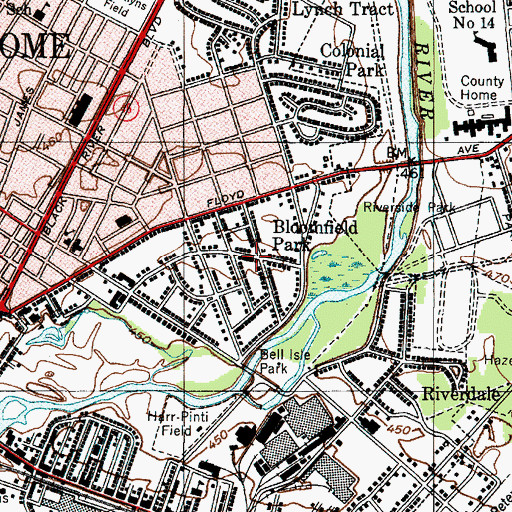 Topographic Map of Bloomfield Park, NY
