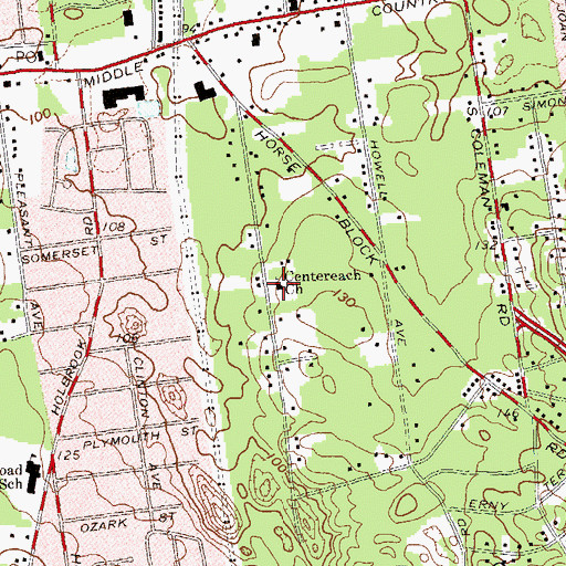 Topographic Map of Centereach Church, NY