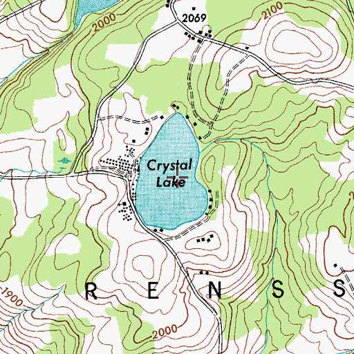Topographic Map of Crystal Lake, NY
