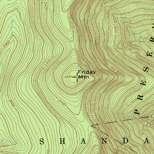 Topographic Map of Friday Mountain, NY