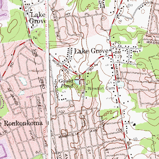 Topographic Map of Gould Pond, NY