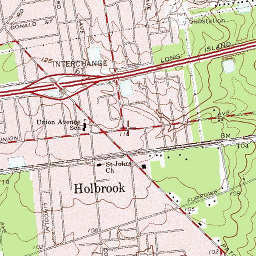 Topographic Map of Holbrook, NY