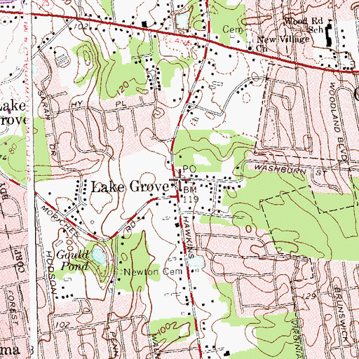 Topographic Map of Lake Grove, NY