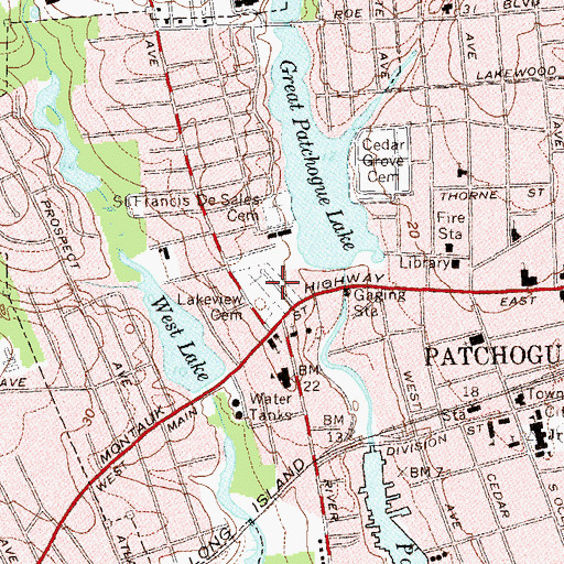 Topographic Map of Lakeview Cemetery, NY